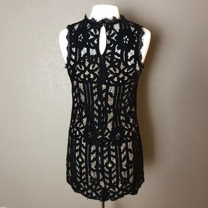 Speechless Lined Black Lace Tunic S Sm
